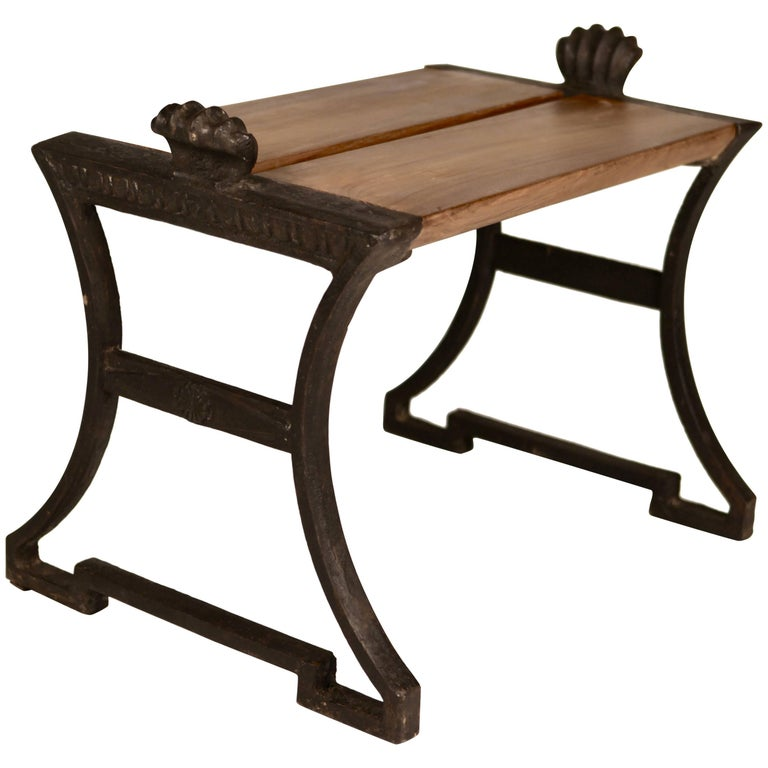 Folke Bensow,´Näfvequarn`Cast Iron & Oak Bench, 1920s