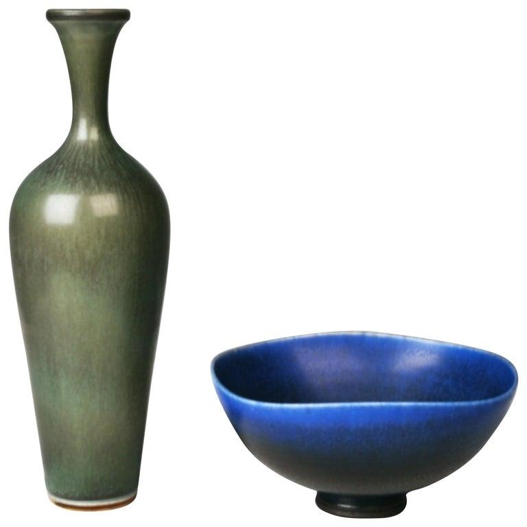 Berndt Friberg, Stoneware Vase and Bowl, Gustavsberg, Sweden 1960s.