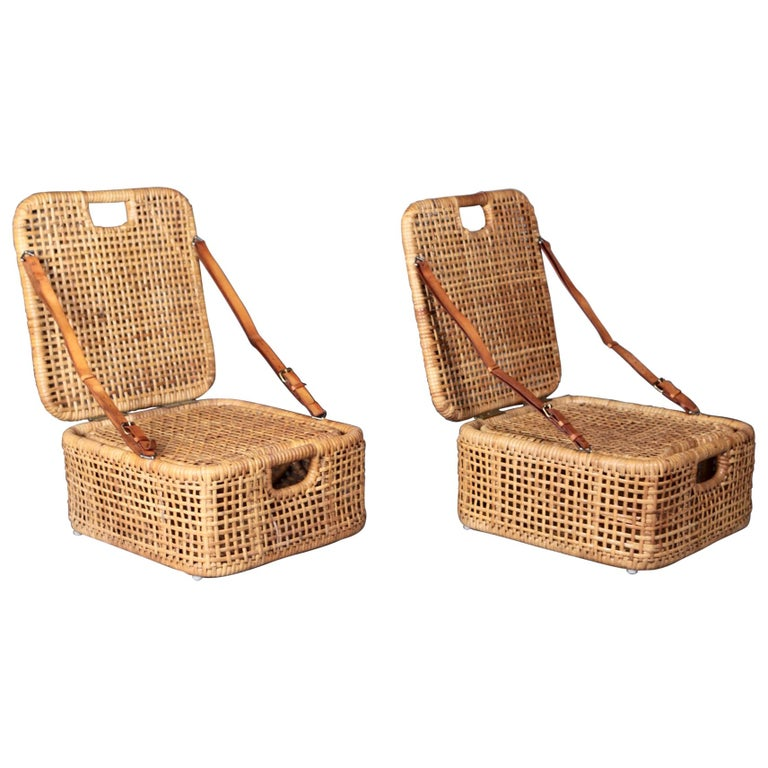 Picnic Chairs, Cane & Leather, Sweden 1950s.