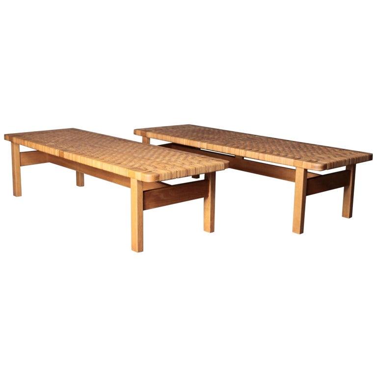 Børge Mogensen, Oak & Cane Benches, 1950s