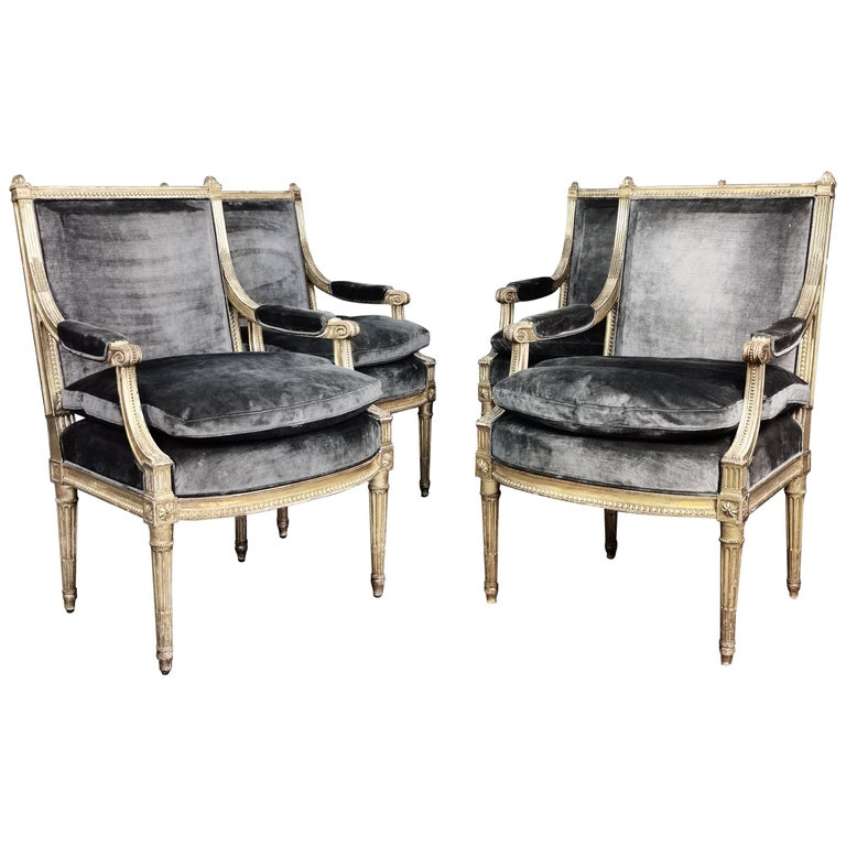 Set of 4 Louis XVI Style Gilded Armchairs, France, 19th Century