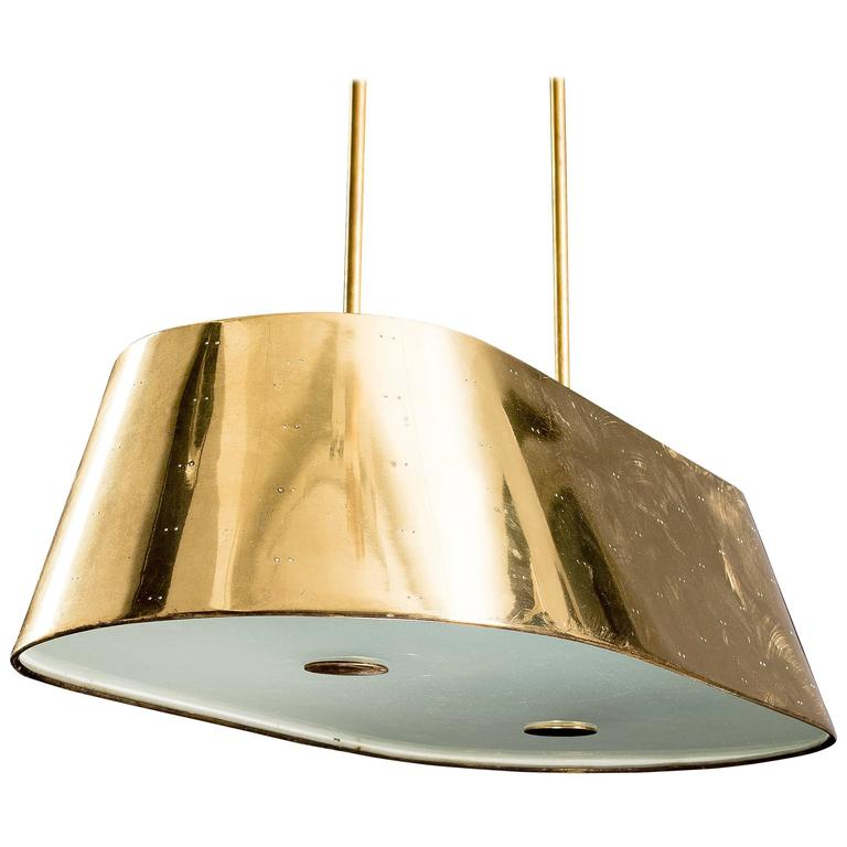 Paavo Tynell, Large Brass and Frosted Glass Ceiling Light, Finland 1950s