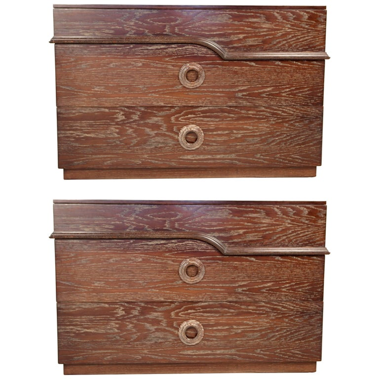 James Mont, Cerused Oak Chests of Drawers, USA 1940s.