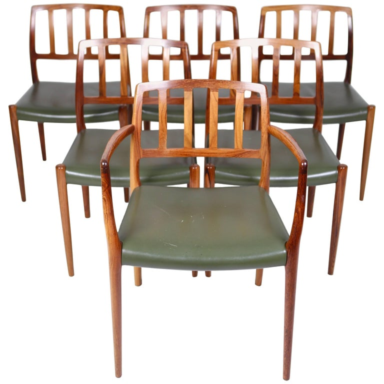 Niels O.Møller, Six East Indian Rosewood Dinig Chairs.