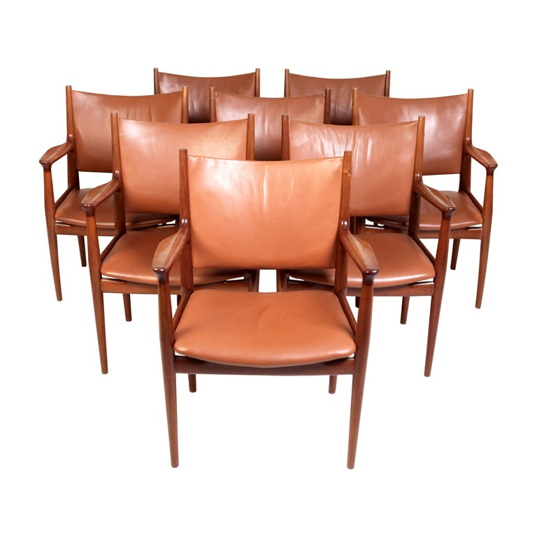 Hans J. Wegner, JH-513 Armchairs in Mahogany & Leather, Denmark 1960s.