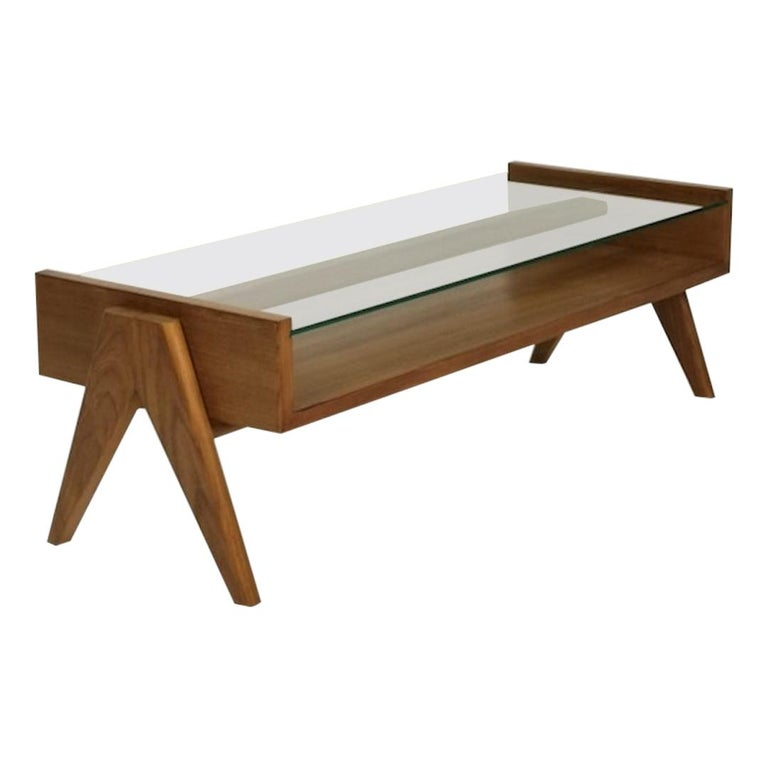 Pierre Jeanneret, Rectangular Low Table with Glass Top, Contemporary Reedition.
