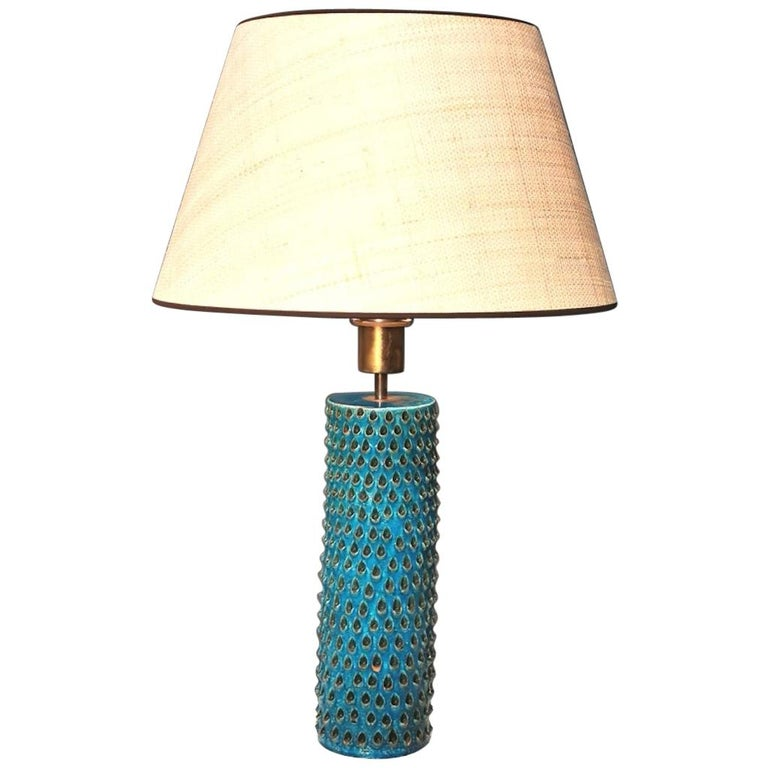 Bitossi Studio, Rimini Blue Glazed Ceramic Table Lamp, Italy 1960s.