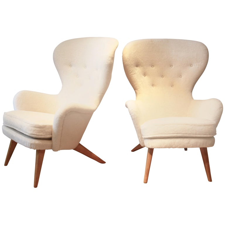 Pair of High Back Armchairs by Carl Gustav Hiorth af Ornäs