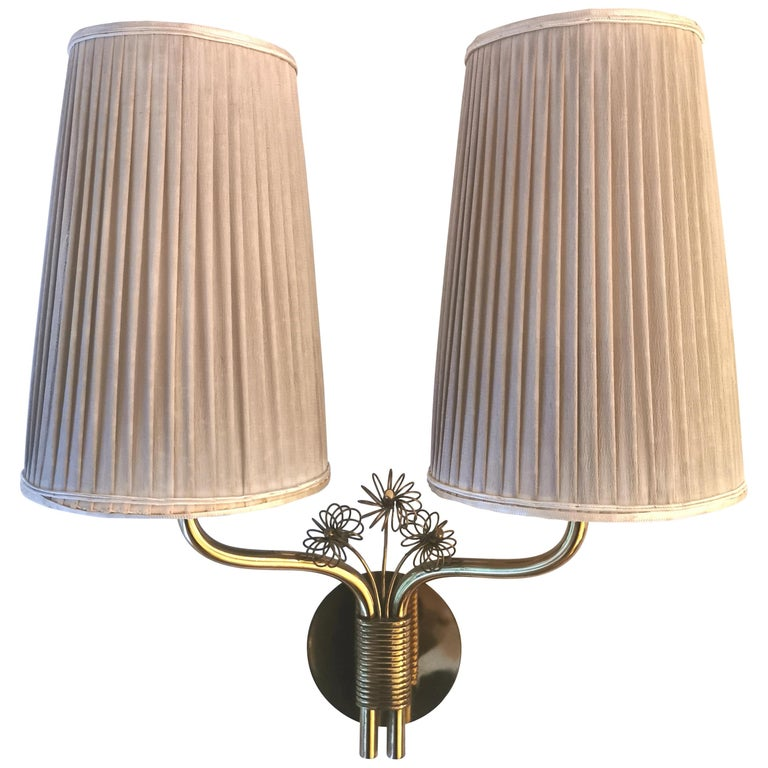 Paavo Tynell, Wall Light, Brass & Original Fabric Shades, 1950s.