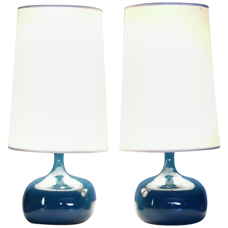 Jacques & Dani Ruelland, Pair of Glazed Table Lamps, France 1960s.
