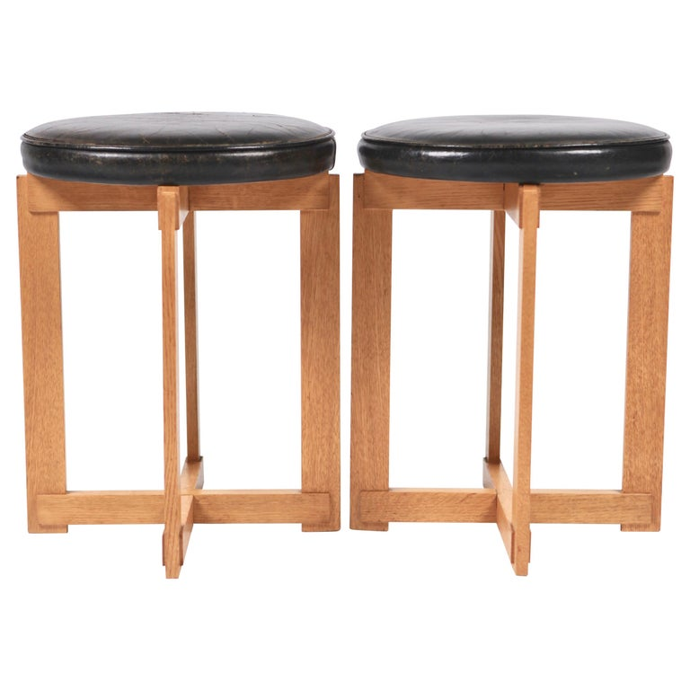 Uno & Östen Kristiansson, Leather & Oak Stools for Luxus, Sweden 1960s.