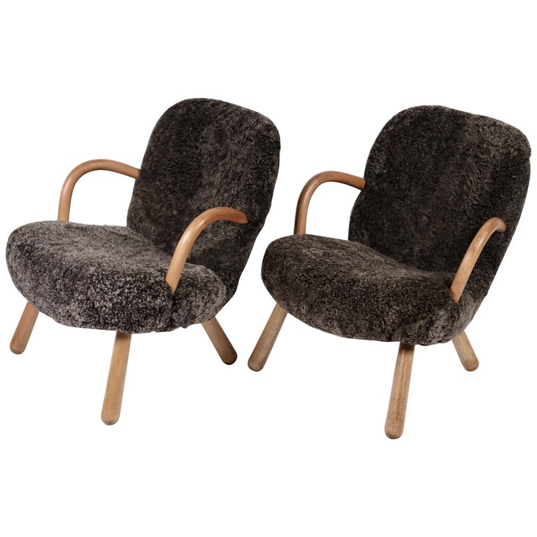 Pair of Philip Arctander Attributed Clam Chairs, 1950s