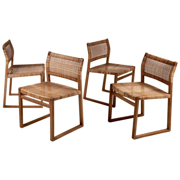 Børge Mogensen, Dining Chairs in Oak & Woven Cane, Denmark, 1957