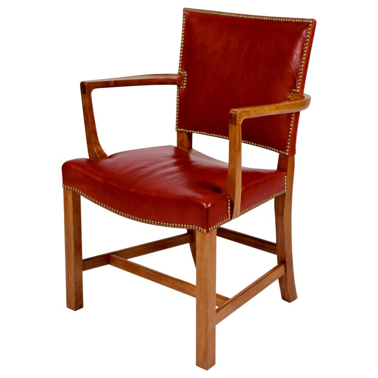 Kaare Klint, Barcelona Armchair, Red Leather & Cuban Mahogany, Denmark, 1950s