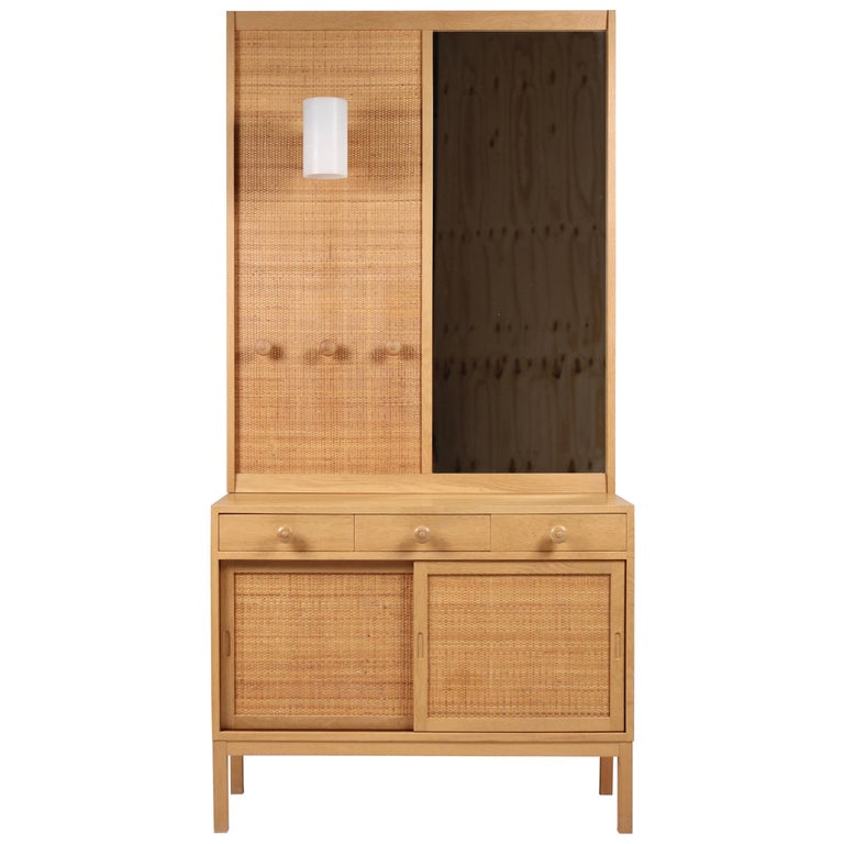 Uno & Osten Kristiansson, Oak & Cane Wardrobe for Luxus, Sweden 1960s