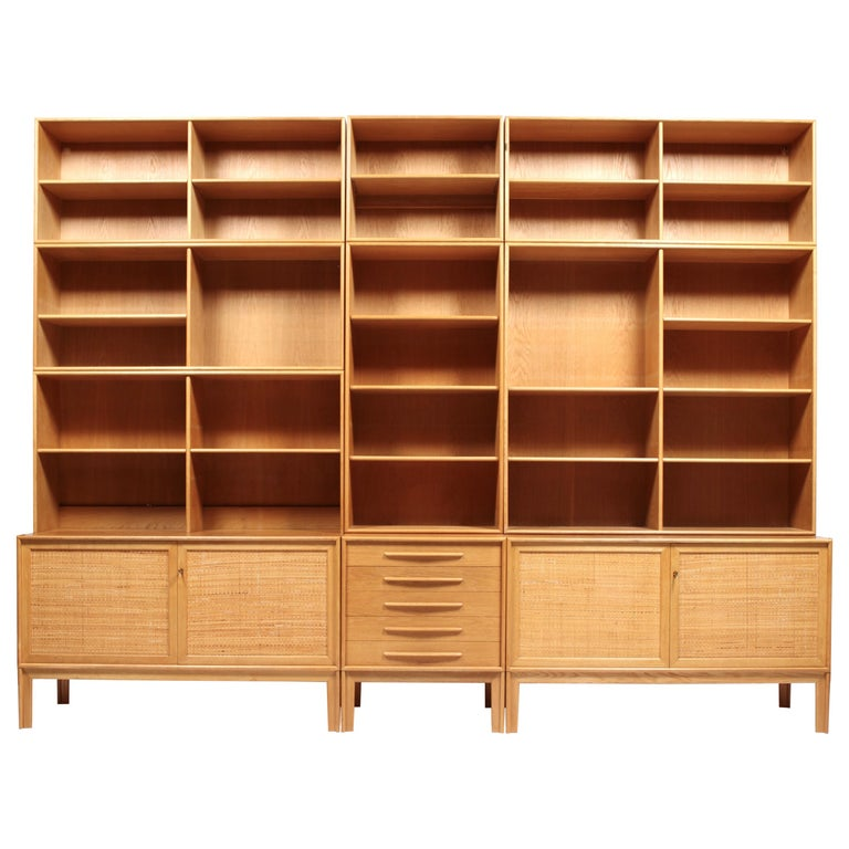3 Sideboards with Bookcases in Oak & Cane by Alf Svensson, 1963.