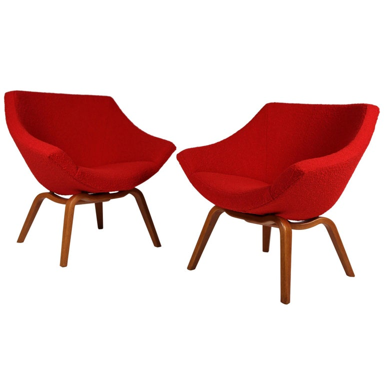 Pair of Easy Chairs by Carl-Gustaf Hiort Af Ornäs, Helsinki 1950s.