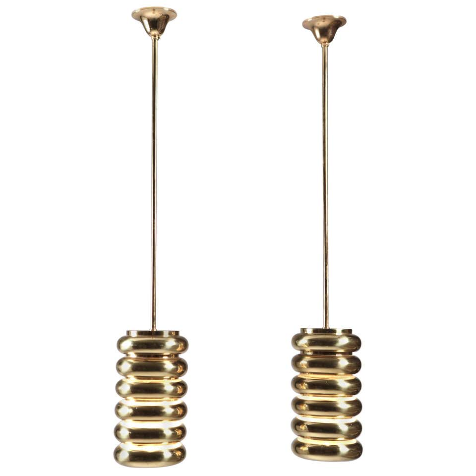 Kari Ruokonen, Pair of Brass Ceiling Lights, Finland 1960s.