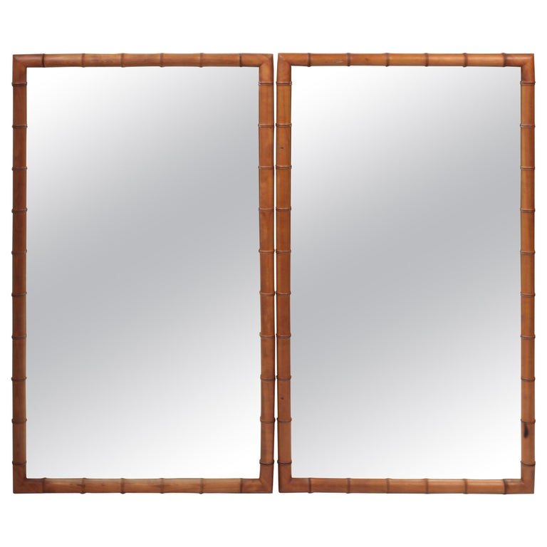 Pair of Large French Faux Bamboo Mirrors in Walnut, circa 1890