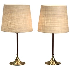 Pair of Rare Bergboms Table Lamps, B-024, Brass & Leather, Sweden 1950s